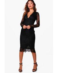 Boohoo - Black Boutique Eyelash Lace Midi Dress - Lyst