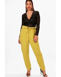 Boohoo Yellow Plus Paperbag Waist Trouser