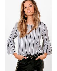 Boohoo - White Hailey Stripe Woven Flared Sleeve Top - Lyst