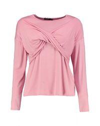 Boohoo   Pink Carla Cross Over Long Sleeve Top   Lyst
