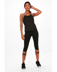 Boohoo - Black Aaliyah Fit Wrap Around Gym Leggings - Lyst