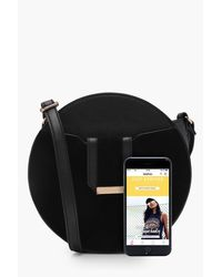 Boohoo - Black Structured Round Cross Body - Lyst