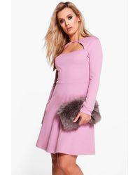 Boohoo - Pink Plus Nancy Neck Detail Skater Dress - Lyst