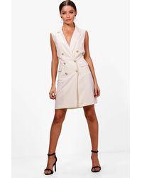 1821e32920df Boohoo Sleeveless Blazer Dress in White - Lyst