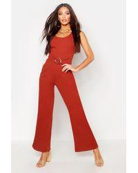 Boohoo Red Linen Buckle Asymmetric Shoulder Jumpsuit