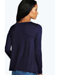 Boohoo - Blue Long Sleeved Top - Lyst