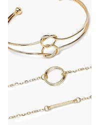 Boohoo - Metallic Simple Bar & Hoop Bangle & Bracelet Set - Lyst