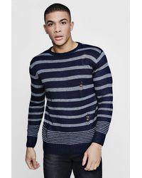 Boohoo - Blue Multi Stripe Distress Jumper for Men - Lyst