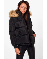 Boohoo - Black Libby Crop Padded Jacket With Faux Fur Hood - Lyst