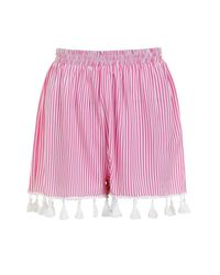 Boohoo - Pink Candy Striped Tassel Hem Shorts - Lyst