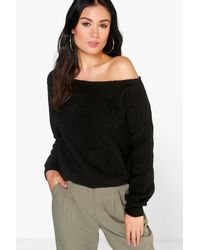 Boohoo - Black Crop Slash Neck Fisherman Sweater - Lyst
