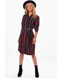 Boohoo | Blue Tilly Stripe Buckle Shirt Dress | Lyst