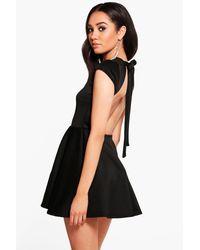Boohoo - Black Petite Hailey Scuba Backless Skater Dress - Lyst