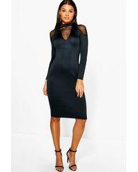 Boohoo - Black Fi Mesh Cold Shoulder Detail Plunge Midi Dress - Lyst