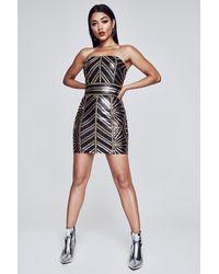 b252ca03e100 Lyst - Boohoo Premium Sequin Bandeau Mini Dress in Black