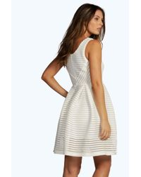 Boohoo - Yellow Boutique Sarah Structured Skater Dress - Lyst
