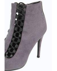Boohoo | Gray Eleanor Peeptoe Lace Up Insert Shoe Boots | Lyst