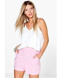 Boohoo - Pink Harriet Woven Pocket Formal Short - Lyst