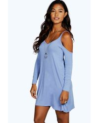 Boohoo - Blue Grace Cut Out Swing Dress - Lyst