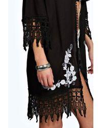 Boohoo - Black Rianna Embroidered Edged Beach Kimono - Lyst