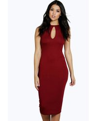 Boohoo - Red Evelyn Keyhole Detail Midi Dress - Lyst