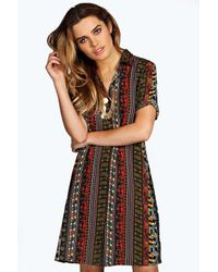 Boohoo - Multicolor Zena Paisley Panel Shirt Dress - Lyst