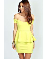 Boohoo - Pink Ria Off The Shoulder Peplum Dress - Lyst