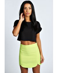 Boohoo - Multicolor Rubie Scalloped Side Woven Mini Skirt - Lyst