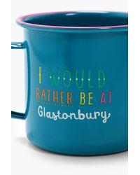 Boohoo Blue Enamel Festival Mug Glastonbury