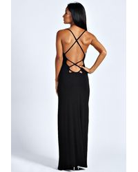 Boohoo - Black Tilly Strappy Back Detail Maxi Dress - Lyst