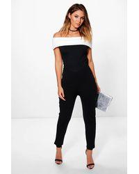 e64afe8fe86 Boohoo Contrast Bardot Skinny Leg Jumpsuit in Black - Lyst