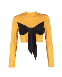 Boohoo - Multicolor Sara Tie Knot Front Detail High Neck Top - Lyst