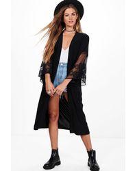 Boohoo | Black Christina Maxi Lace Sleeve Kimono | Lyst