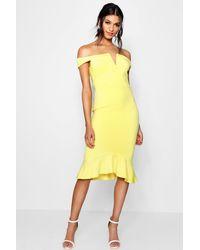 b6ffd7587905 Boohoo Off The Shoulder Frill Hem Midi Dress in Yellow - Lyst