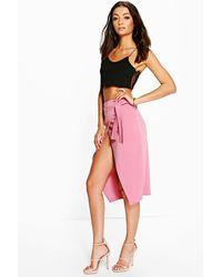 Boohoo - Multicolor Tall Simina Scuba Wrap Tie Wrap Midi Skirt - Lyst