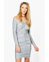 Boohoo Gray Mishi Slinky Off Shoulder Bodycon Dress