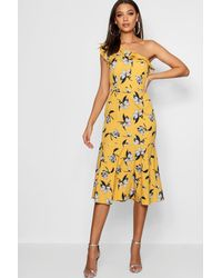b1164366917b Boohoo Tall Floral One Shoulder Ruffle Midi Dress in Yellow - Lyst
