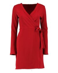 Boohoo - Red Wrap Over Tie Dress - Lyst
