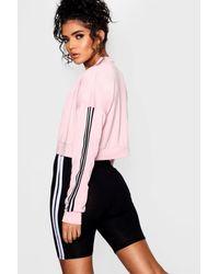 Boohoo - Pink Crop Sport Stripe Bomber Jacket - Lyst