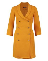 Boohoo Multicolor Double Breasted Gold Button Blazer Dress