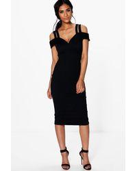 9cda57097d05 Lyst - Boohoo Kya Strappy Cold Shoulder Midi Bodycon Dress in Black