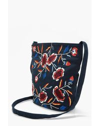 Boohoo - Blue Laura Embroidered Cross Body Bag - Lyst