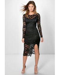 0e6fd66c6d5ae Lyst - Boohoo Andi Long Sleeve Lace Split Midi Dress in Black