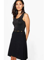 Boohoo - Black Lucy Studded Skater Dress - Lyst