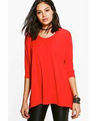 Boohoo - Orange Faye Hem Detail T-shirt - Lyst