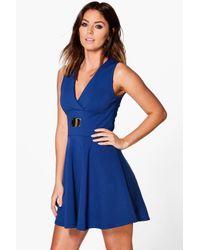 Boohoo | Blue Liza Cross Front Sleeveless Skater Dress | Lyst