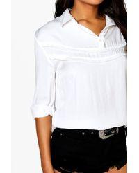 Boohoo - Pink Lexi Ruffle Front Shirt - Lyst