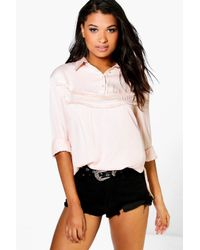 Boohoo | Pink Lexi Ruffle Front Shirt | Lyst
