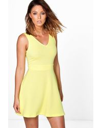 Boohoo - Yellow Hannah Textured Skater Dress - Lyst