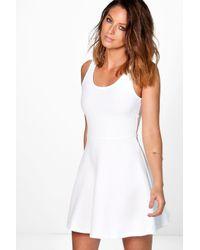 Boohoo - White Grace Textured Skater Dress - Lyst